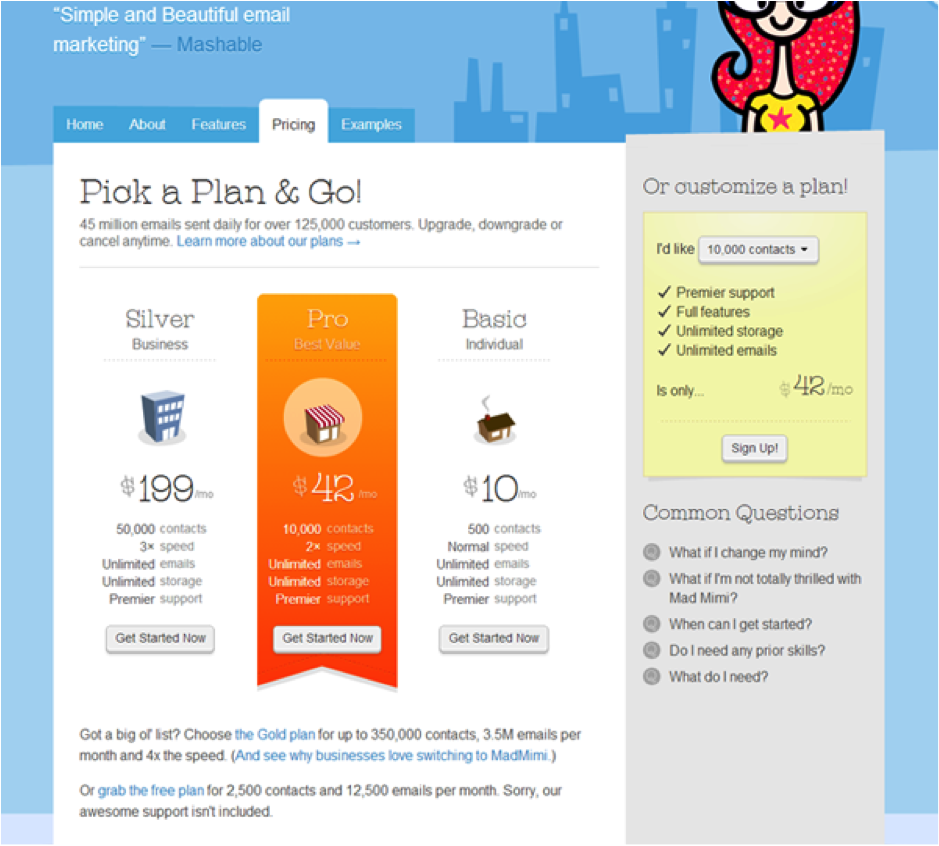 pricing page framing