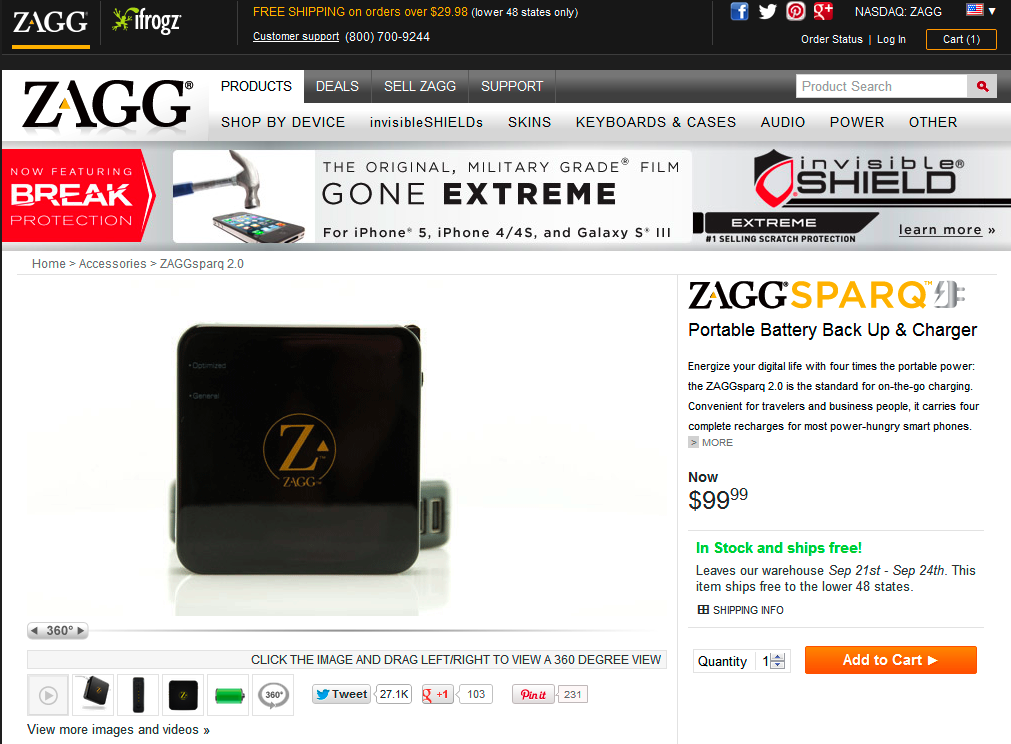 ZAGG product page A/B test