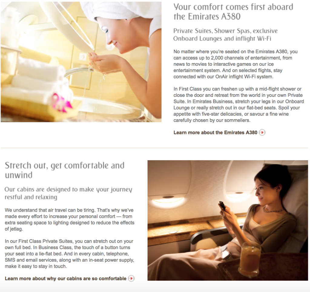 An example of how Emirates USP has defined their messaging