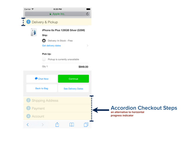 accordion apple checkout