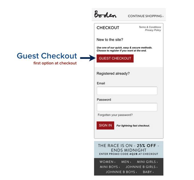 boden guest checkout