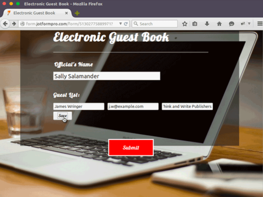 electronic guest book