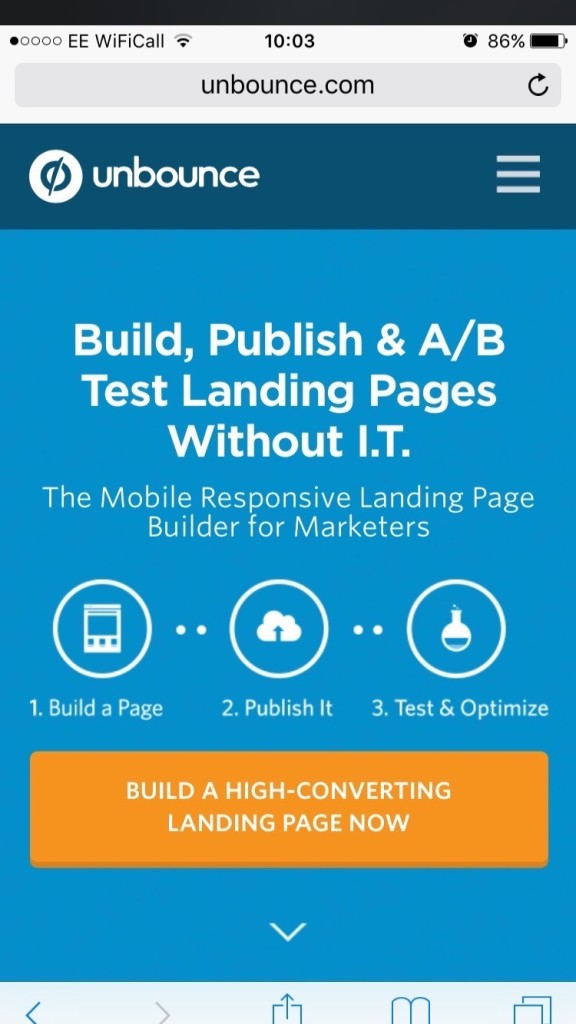 A mobile optimized landing page