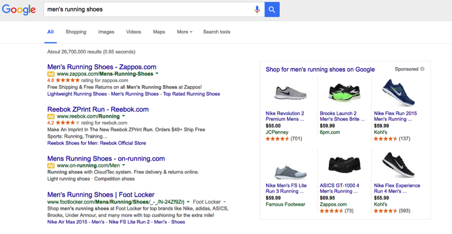 google shopping product listing
