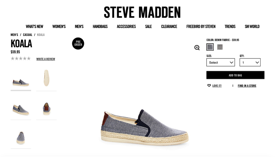 steve madden screenshot