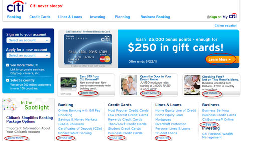Citi Bank Online Marketing