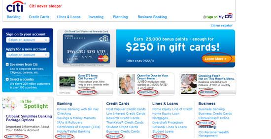 Citi Bank Online Marketing