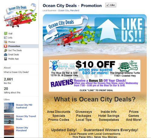 Facebook coupon example