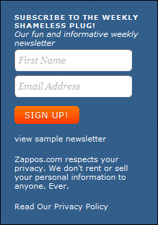 Zappos Newsletter Sign Up
