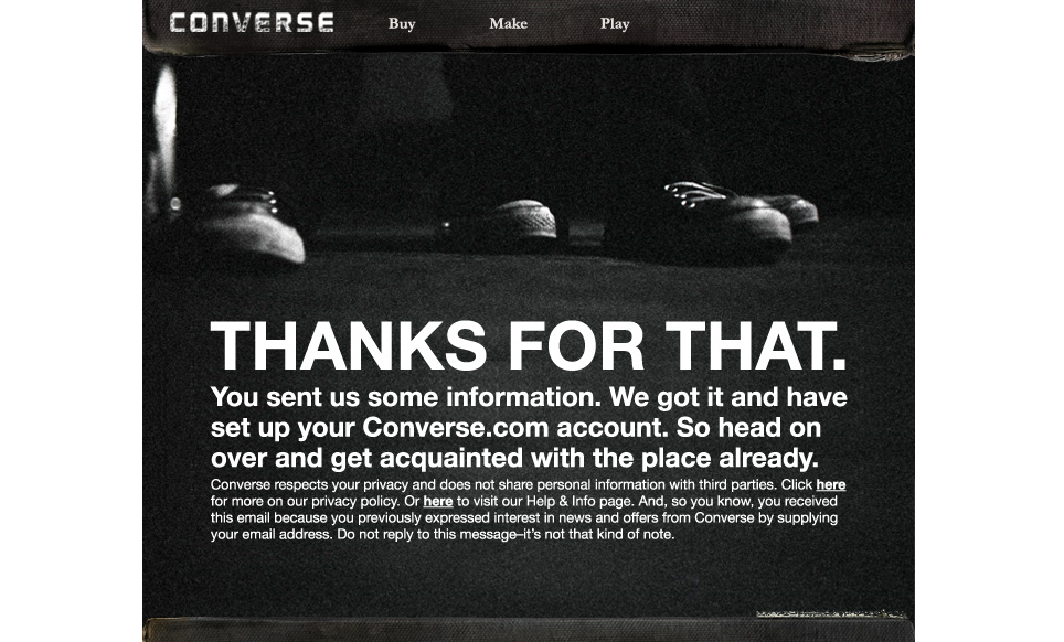 Converse email newsletter