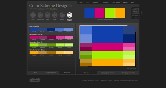 Color Scheme Designer - Combinations