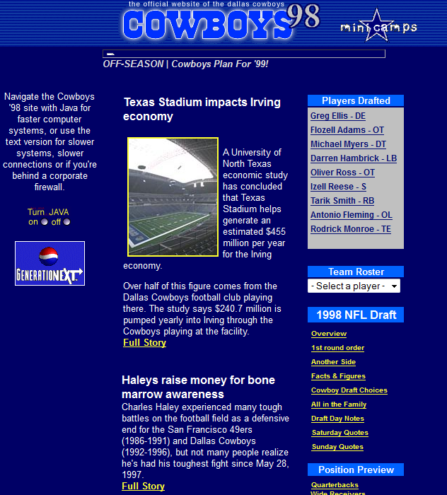 Dallas Cowboys Website from the 1990s