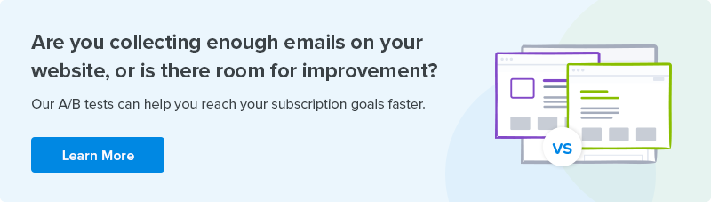 Crazy Egg A/B testing subscription goal