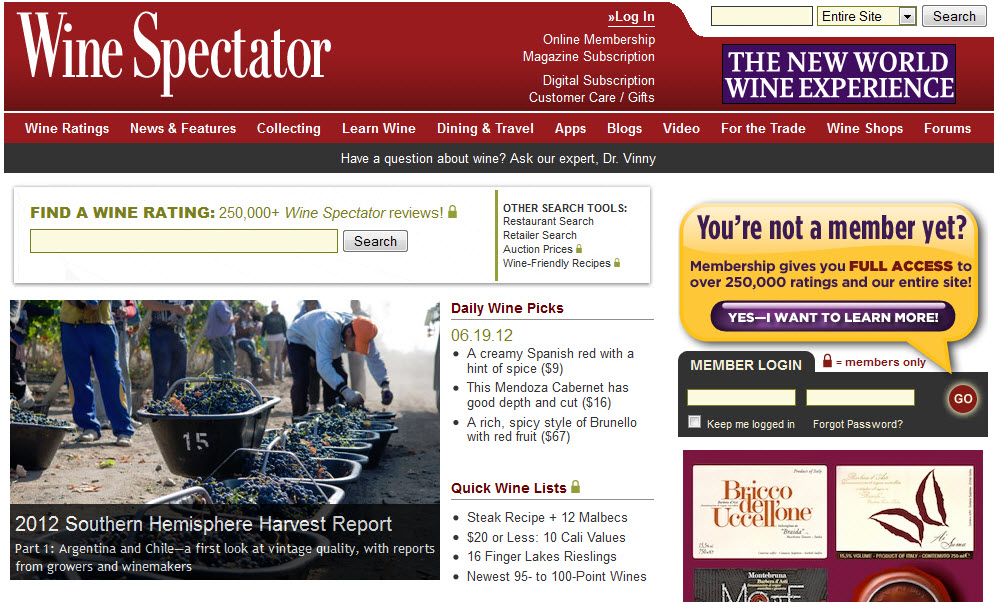 Wine Spectator Website Review
