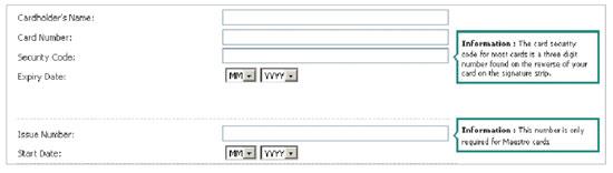 Next card details form screenshot
