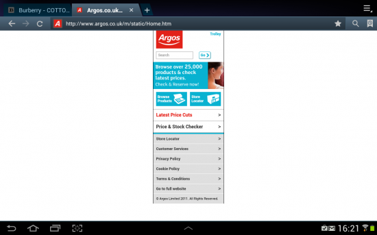 "Argos on 10.1"" tablet"