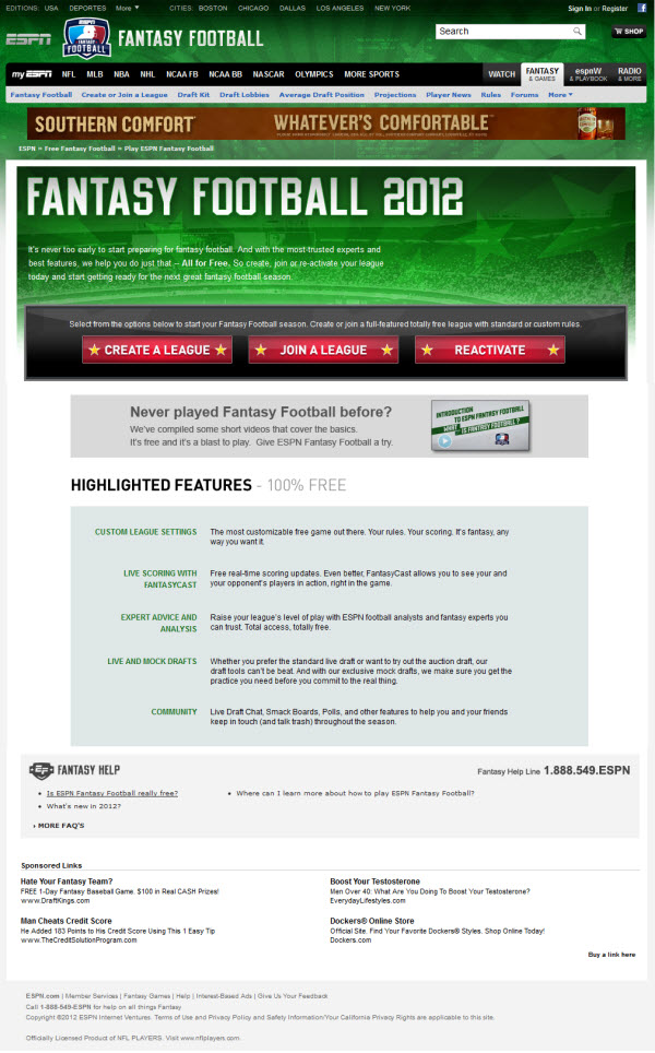 ESPN Fantasy Football Landing Page