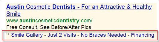 Example Sitelinks in AdWords