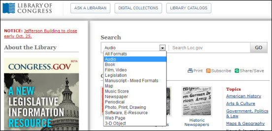 Library of Congress Search Function