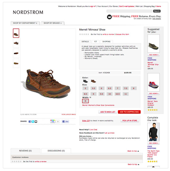 Nordstrom Product page