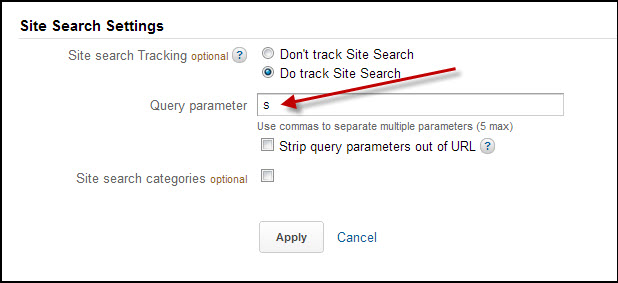 Where to enter query parameters for site search