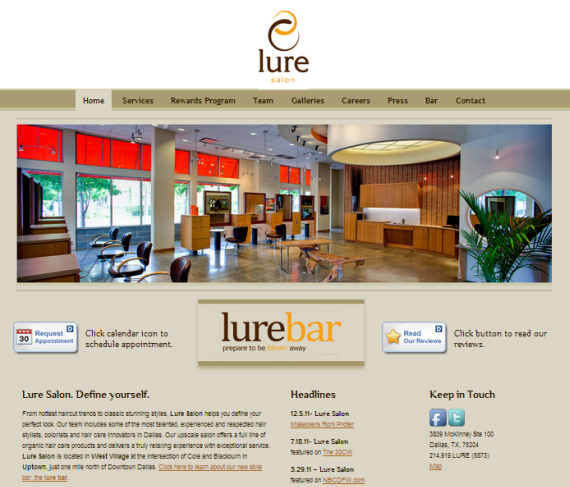Lure Salon is a brochure site
