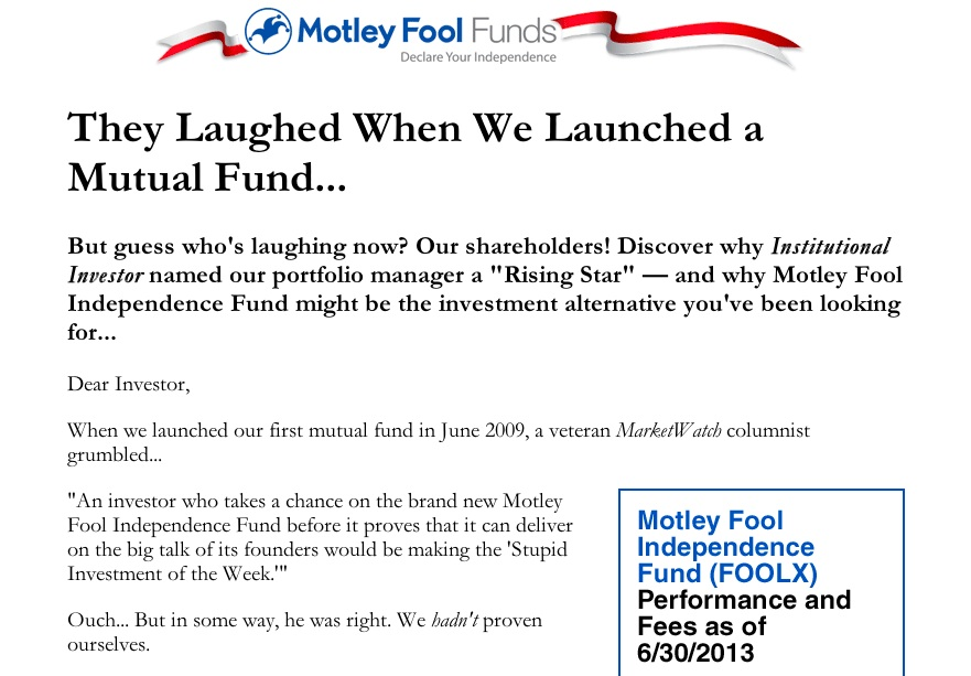 motley fool ad using old ad format