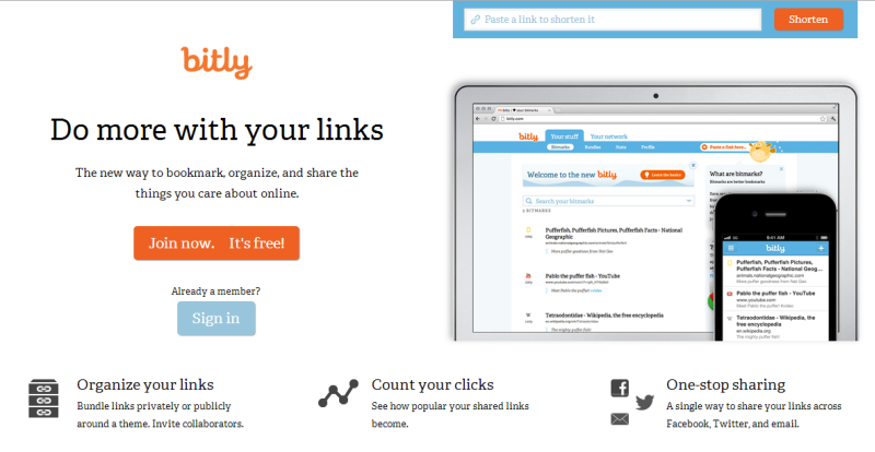 Bit.ly is functional and attractive