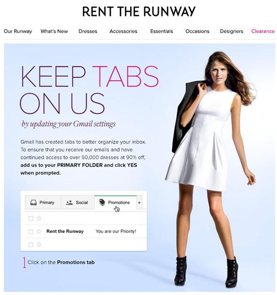 RentTheRunway Gmail update