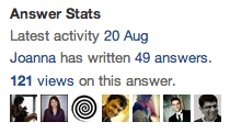 Quora - use answer stats for important information