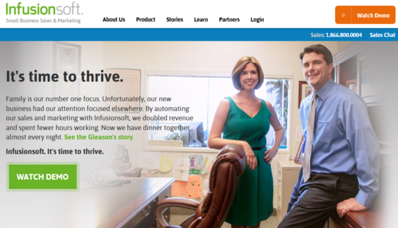 Infusionsoft uses real people's image on their homepage that add credibility to their site