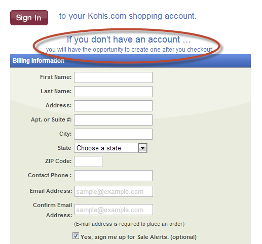 screenshot of checkout form