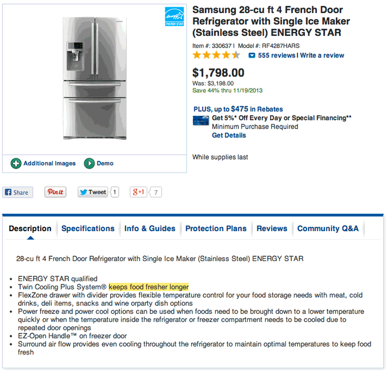 See how Lowe's describes both the features and the benefits in their descriptions?