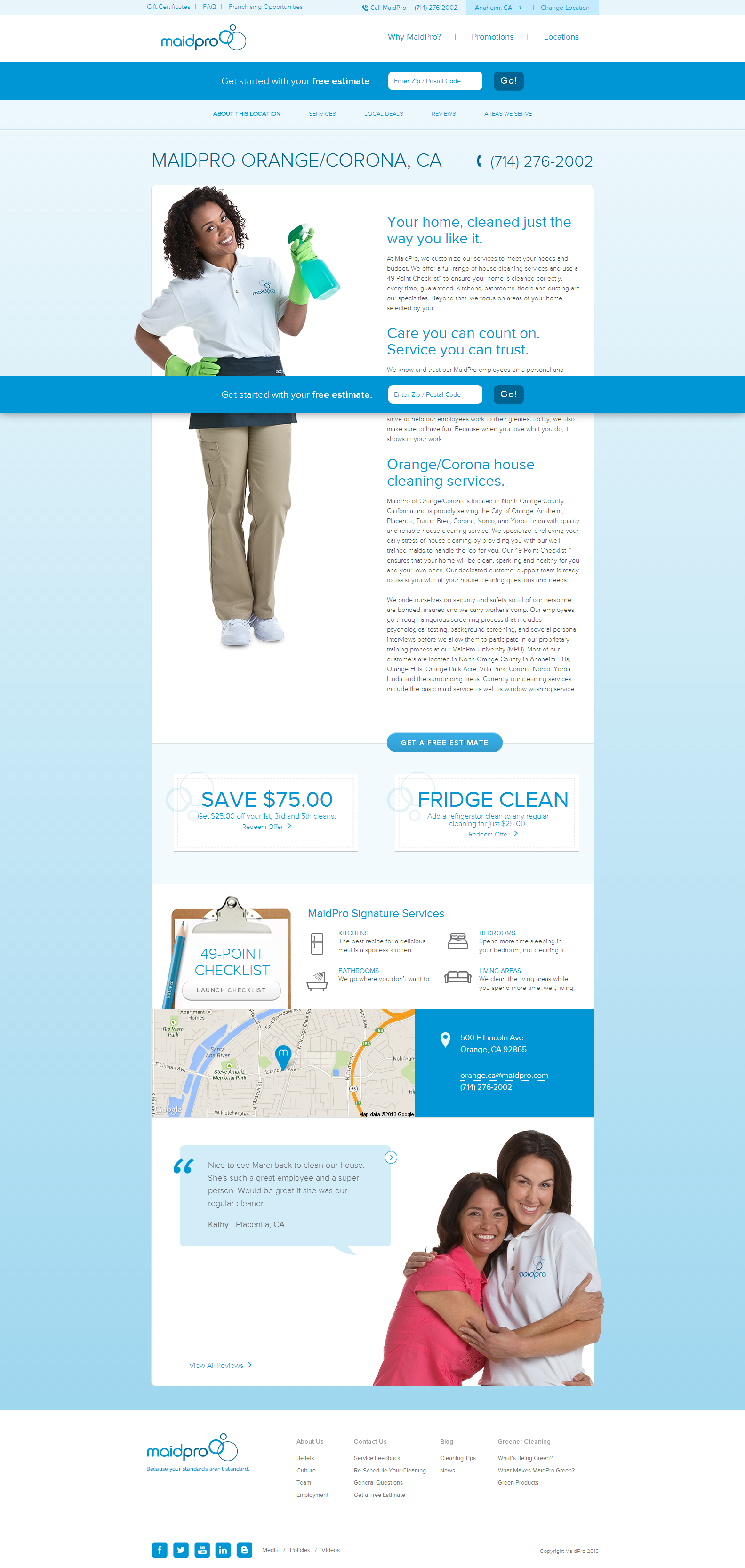 are these maid services cleaning house on adwords what i like about this landing page is it s local focus yes maidpro serves a number of locations around the us however they re able to serve a