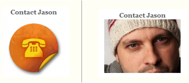 Example of a contact page with a persons face
