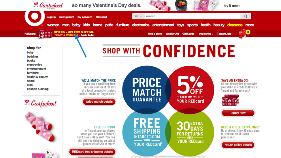 Target's valentine day special offering free shipping