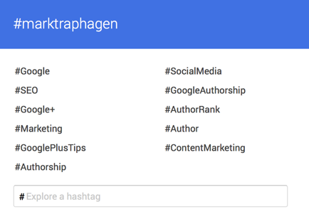 Google plus hashtag personal brand