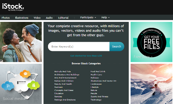 iStock home page
