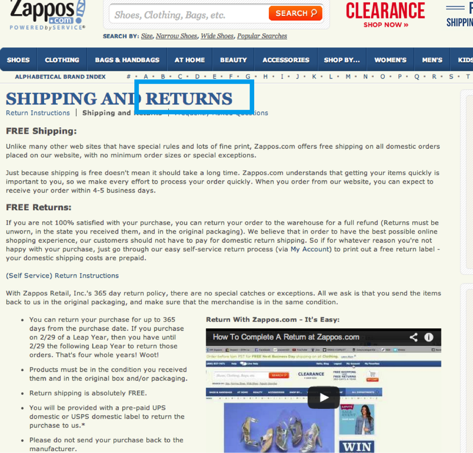zappos shipping and returns