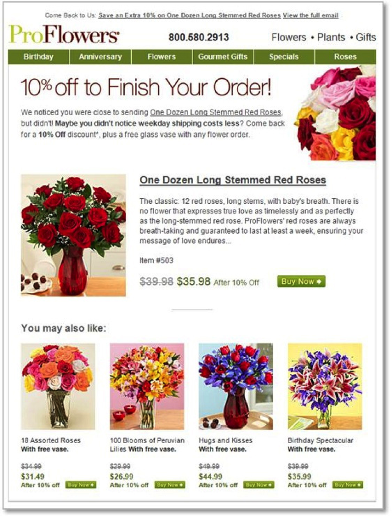 This retargeting ad from ProFlowers advises customers that shipping is cheaper during weekdays, so they can order flowers without worrying about a higher cost of sending them.