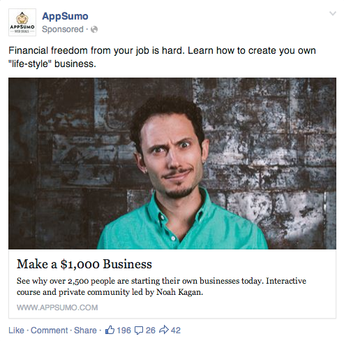 AppSumo Facebook Ad Split test
