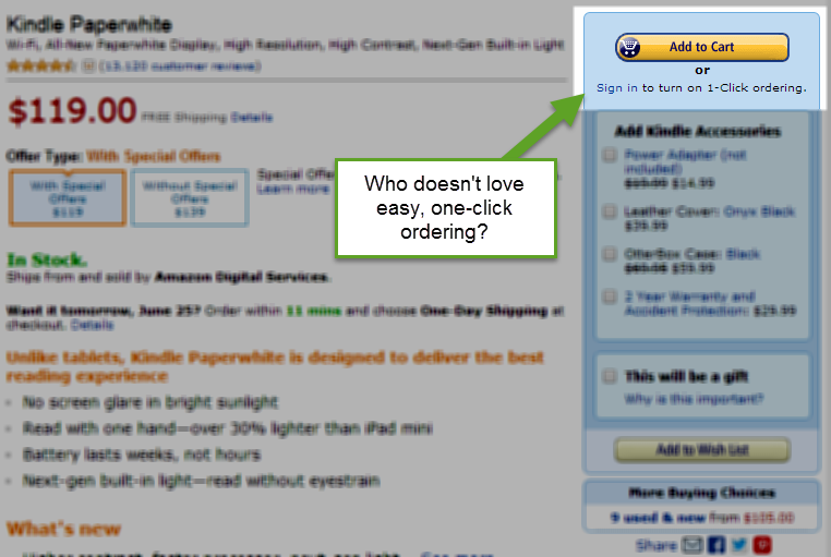 amazon 1-click ordering