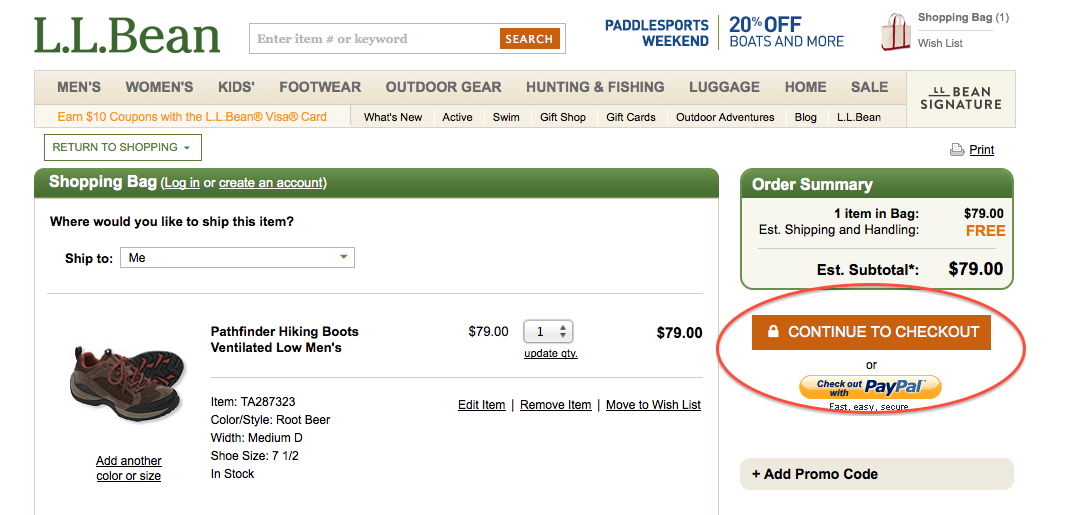 LL Bean checkout