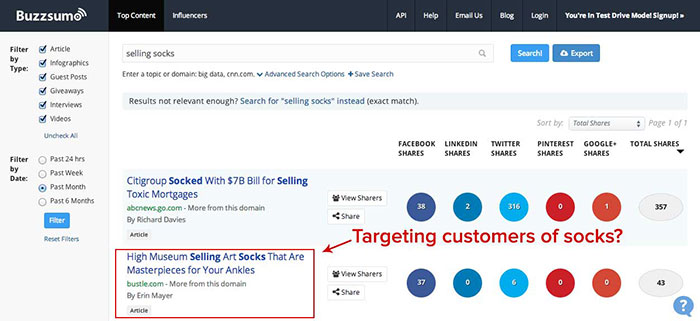 buzzsumo sock search