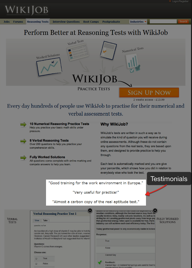 WikiJob social proof