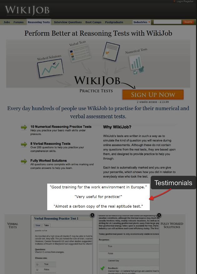 WikiJob social proof