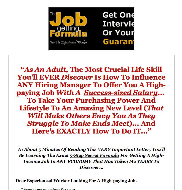 job getting formula