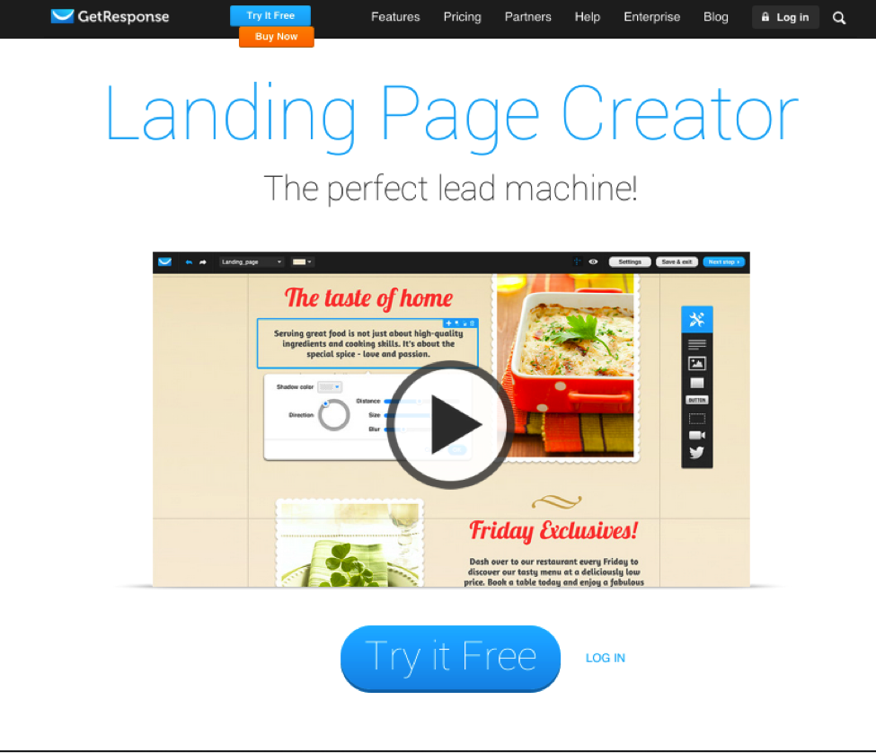 GetResponse's landing page