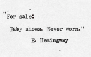 Ernest Hemingway baby shoes ad