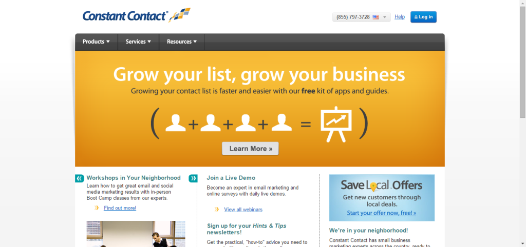 welcome back constant contact homepage